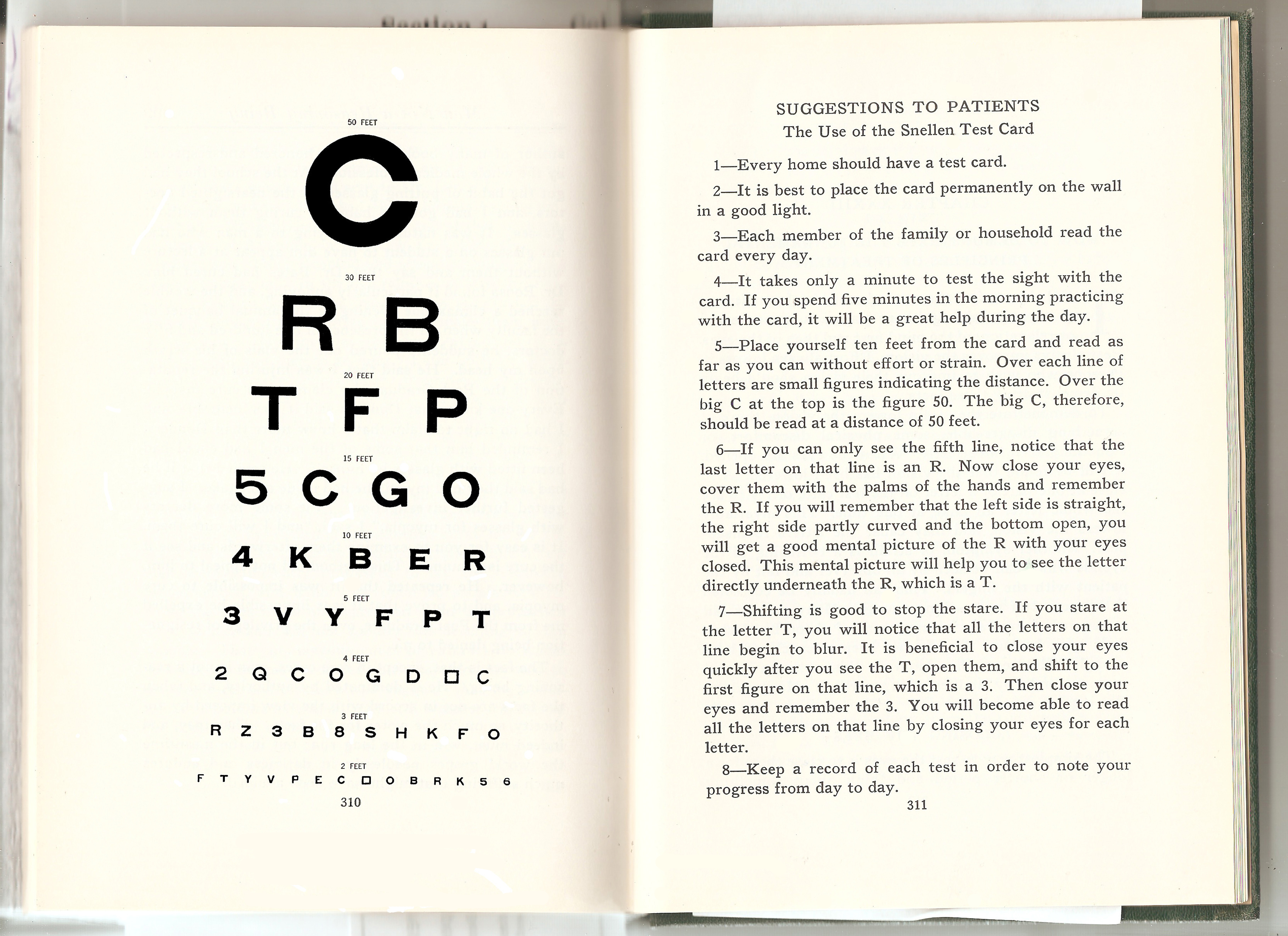 Dr. Bates and Emily's Oringal C Eyechart and Suggestions to Patients - 1940 Perfect Sight Without Glasses Final Print Edition