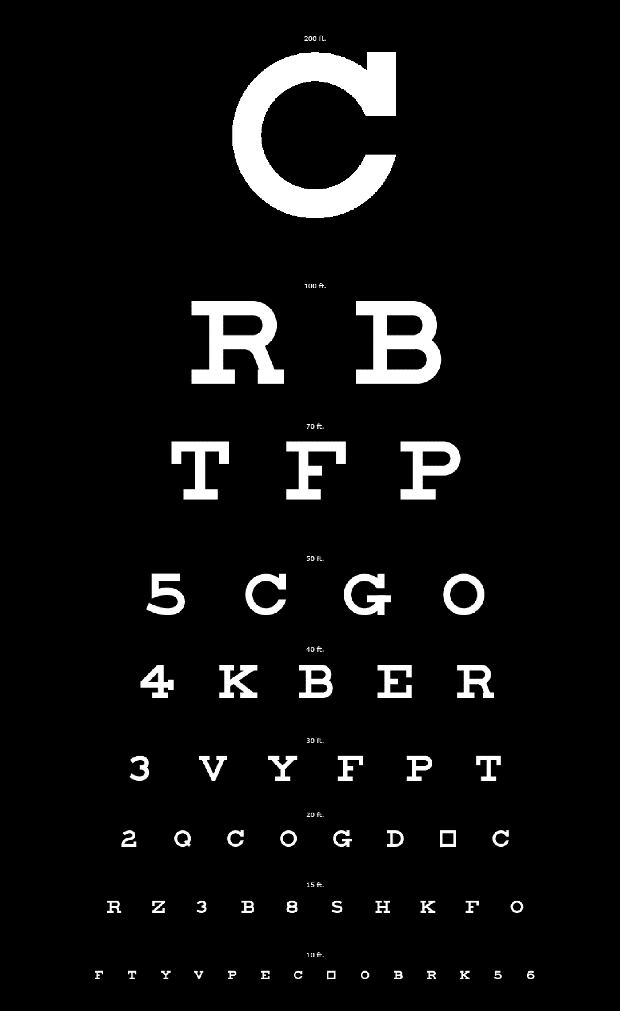 Eyechart White Letters on Black - Easy to See